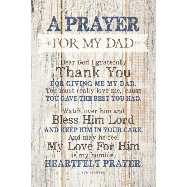 Prayer for My Dad… Textual Art Plaque by Dexsa
