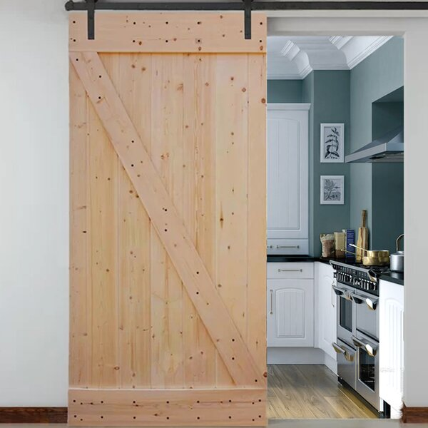 Knotty Solid Wood Panelled Slab Interior Barn Door by TMS