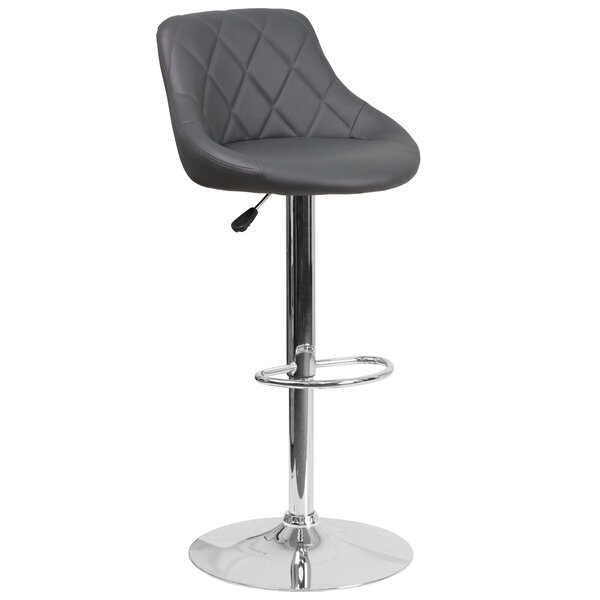 Noell Adjustable Height Swivel Bar Stool by Orren Ellis