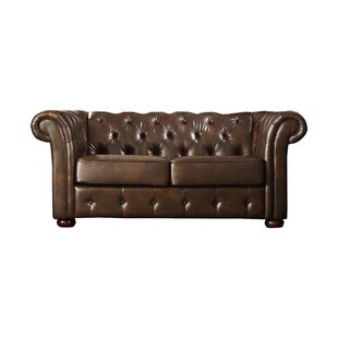 Vegard Tufted Chesterfield Faux Leather Loveseat