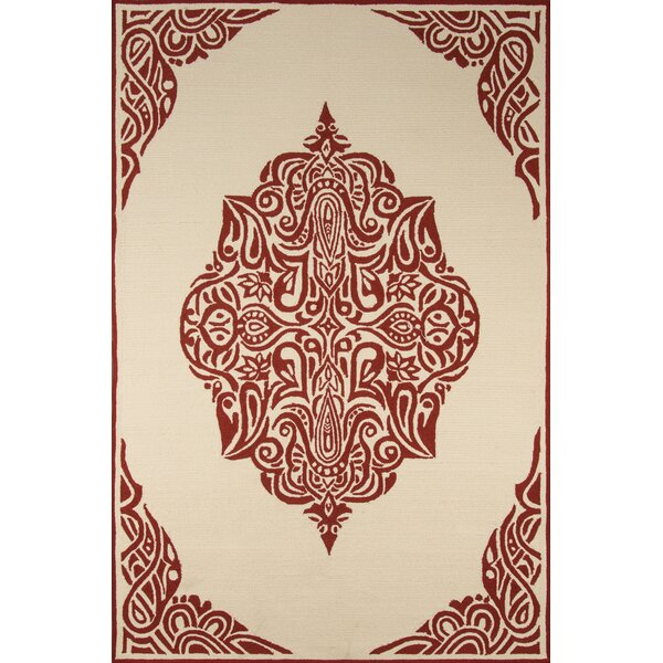Bromville Red/Ivory Outdoor Area Rug by World Menagerie