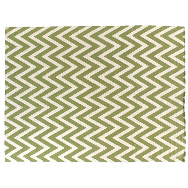Hand-Woven Wool Light Green/Cream Area Rug by Exquisite Rugs