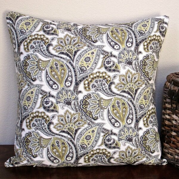 Classic Paisley Modern Contemporary Cottage Indoor Cotton Throw Pillow by Artisan Pillows
