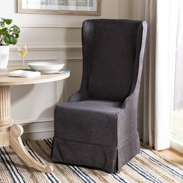Bacall Cotton Upholstered Side Chair in Gray by Alcott Hill Alcott Hill