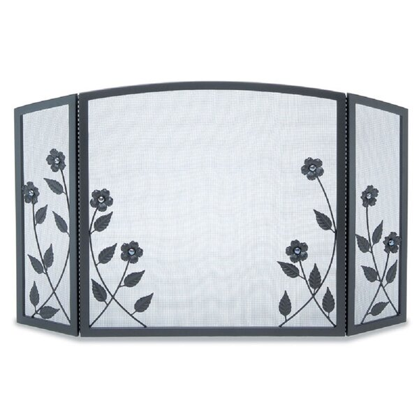 Forged Floral 3 Panel Iron Fireplace Screen By Pilgrim Hearth