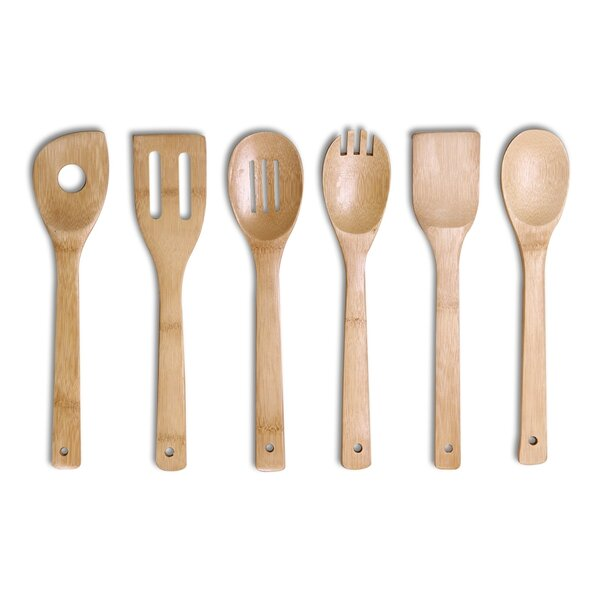 6 Piece Bamboo Kitchen Utensil Tool Set by Adeco Trading