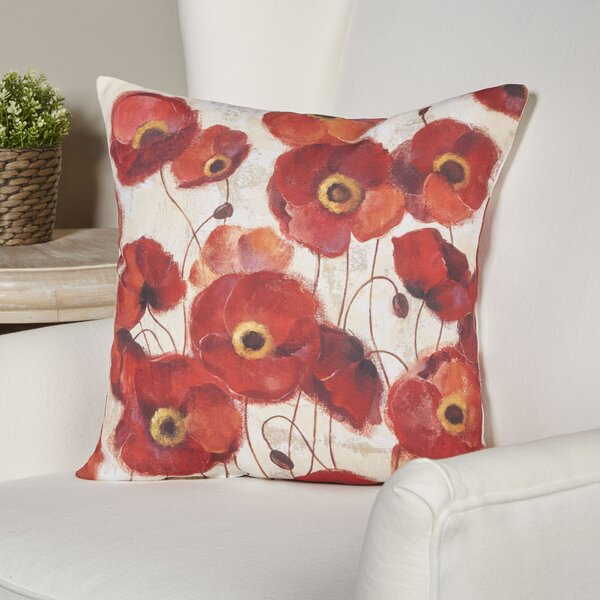 Claudine Poppies Throw Pillow by Andover Mills