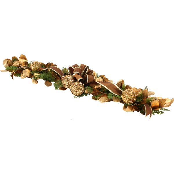 Over The Top Sequined Laurel Leaf and Cedar Garland with Ribbon by Distinctive Designs