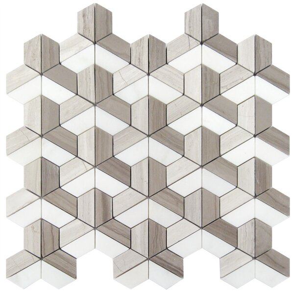 3D Wood Mosaic Tile in Athens Gray by Luxsurface