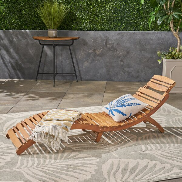 Tifany Wood Outdoor Chaise Lounge By Beachcrest Home