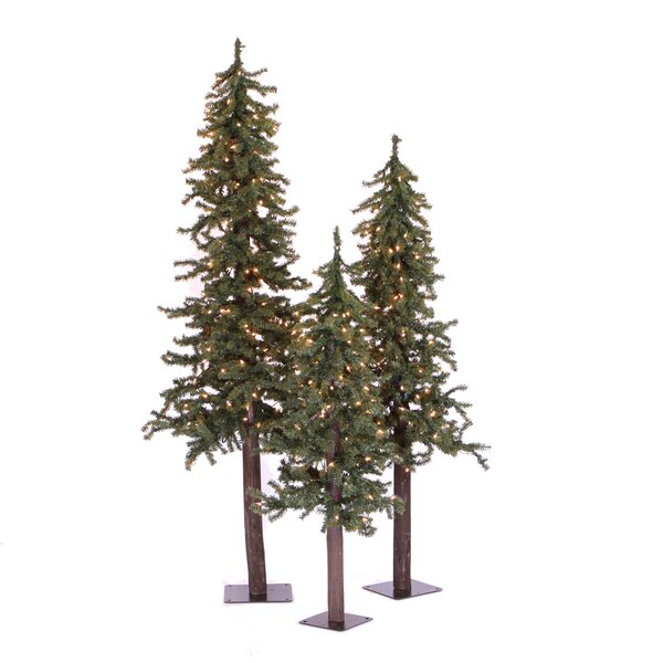 Natural Alpine Green Artificial Christmas Tree with 450 Clear Lights by The Holiday Aisle