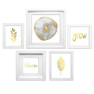 'Natural Collage' 5 Piece Framed Graphic Art Set by Ivy Bronx