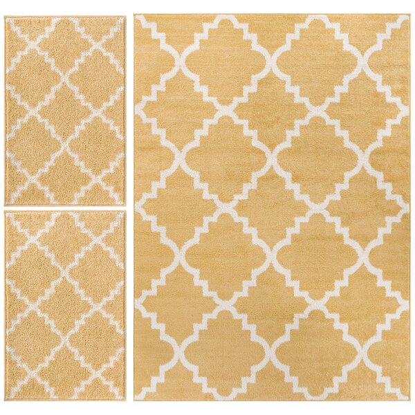 Royal Court 3 Piece Yellow Area Rug Set by Well Woven