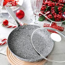 MICHELANGELO 11 Inch Frying Pan with Lid Ultra Nonstick Stone Frying Pan with
