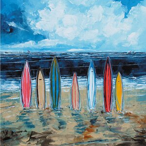 Surf Boards Painting Print on Wrapped Canvas by Breakwater Bay