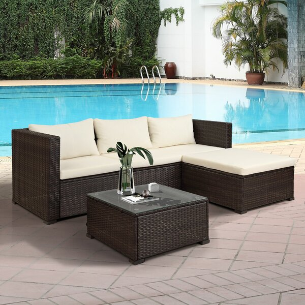 Bonheur 3 Piece Rattan Sectional Seating Group with Cushions by Latitude Run Latitude Run