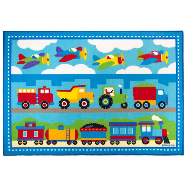 Olive Kids Trains, Planes, Trucks Blue Area Rug by Wildkin