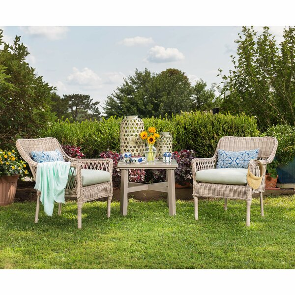 Paul 3 Piece Sunbrella Seating Group with Cushion by Rosecliff Heights