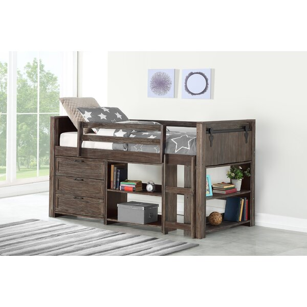 Ivanna Twin Loft Bed with Drawers and Bookcase by Harriet Bee