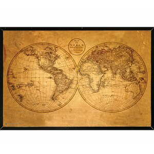 'Old World Map' Framed Graphic Art Print, Poster by Frame USA
