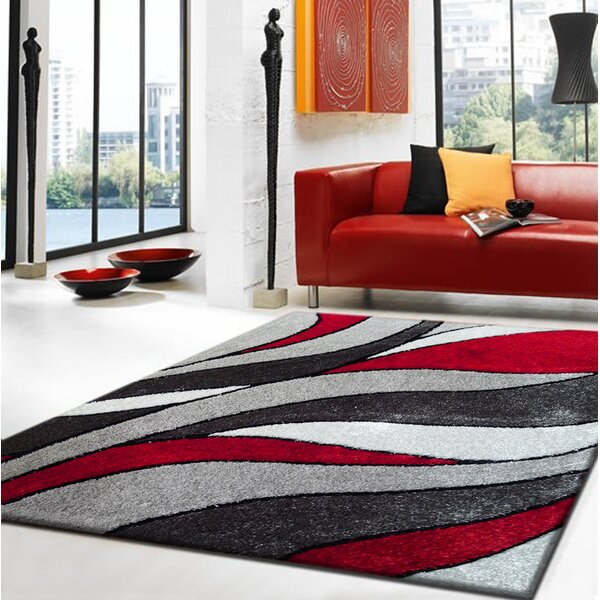 Rug Factory Plus Lola Hand Tufted Gray Red Area Rug Reviews Wayfair