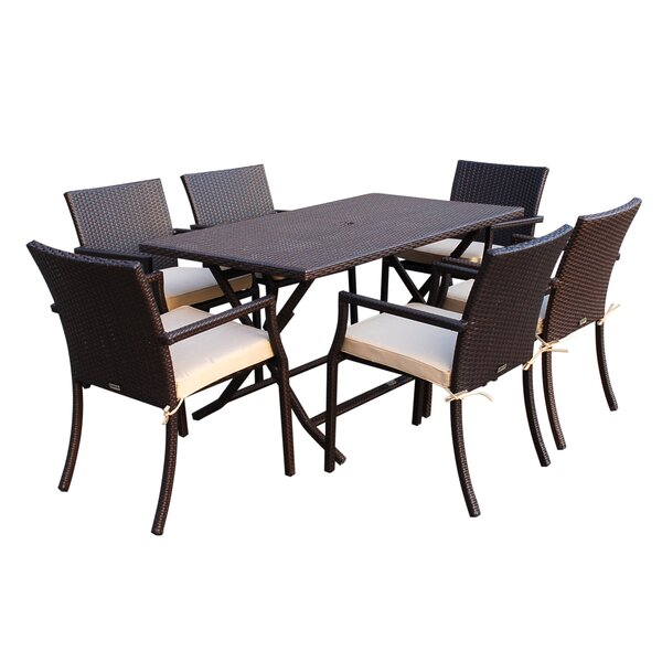 Goodwin 7 Piece Dining Set with Cushions by Highland Dunes