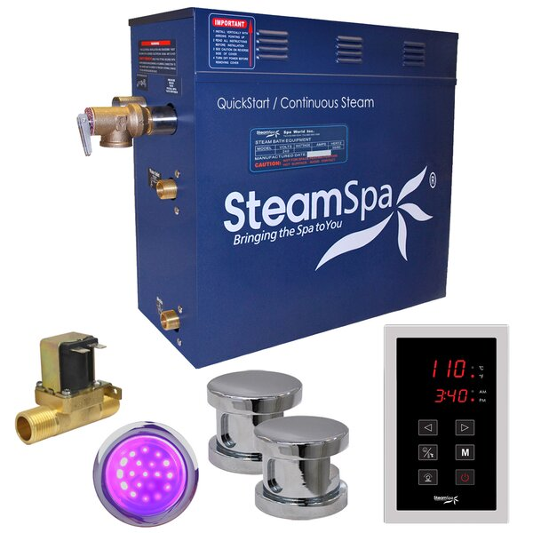 Indulgence 10.5 kW QuickStart Steam Bath Generator Package with Built-in Auto Drain by Steam Spa