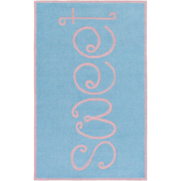Cesar Hand-Tufted Sky Blue/Pale Pink Area Rug by Zoomie Kids