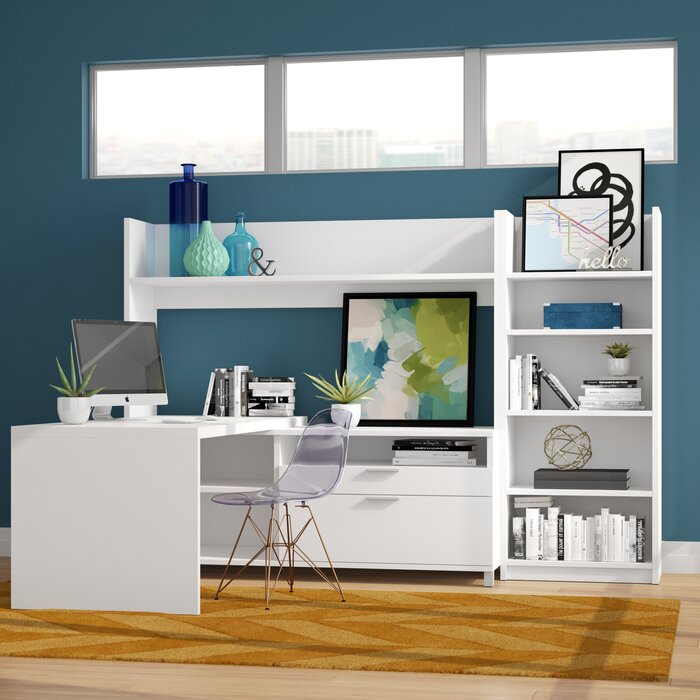 Heyworth L Shape Executive Desk With Hutch And Bookcase