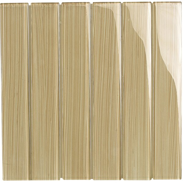 Brushstrokes 2 x 12 Glass Mosaic Tile in Tan by Epoch Architectural Surfaces