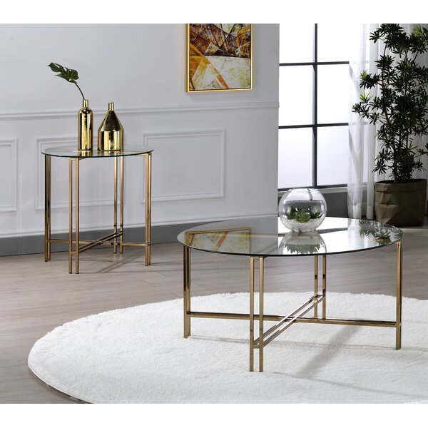 Chevalier Tempered Glass 2 Piece Coffee Table Set By Everly Quinn