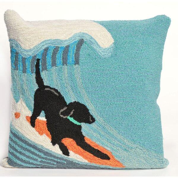 Braden Surfing Dog Ocean Throw Pillow by Highland Dunes