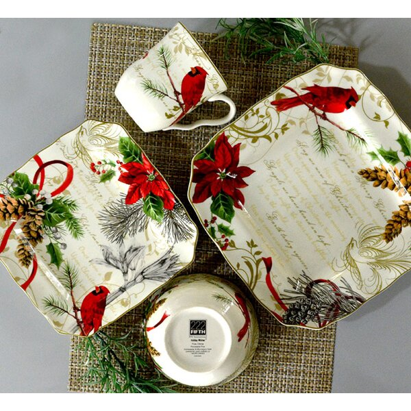 Holiday Wishes 16 Piece Dinnerware Set, Service for 4 by 222 Fifth