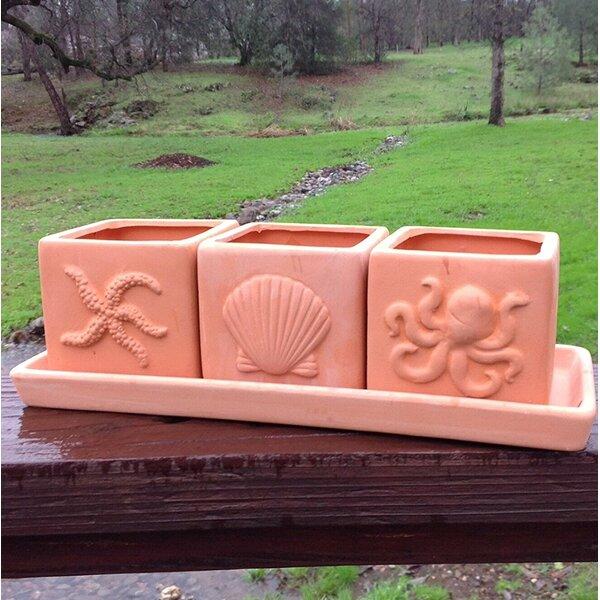 Brees Square 4-Piece Terracotta Pot Planter Set by Highland Dunes