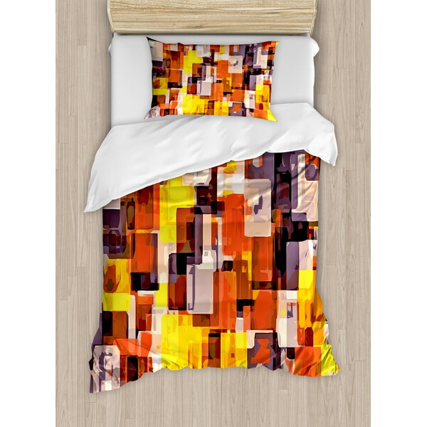 Abstract Geometrical Modern Cool Painting like Artistic Design Artwork Duvet Set by Ambesonne