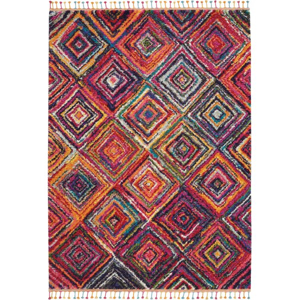 Wayne Passionate Geometric Red/Orange Area Rug by Bungalow Rose