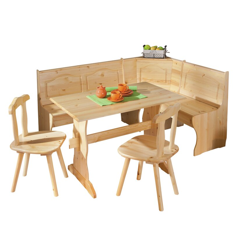 Wamsutter Corner Dining Set With 2 Chairs And Storage Bench