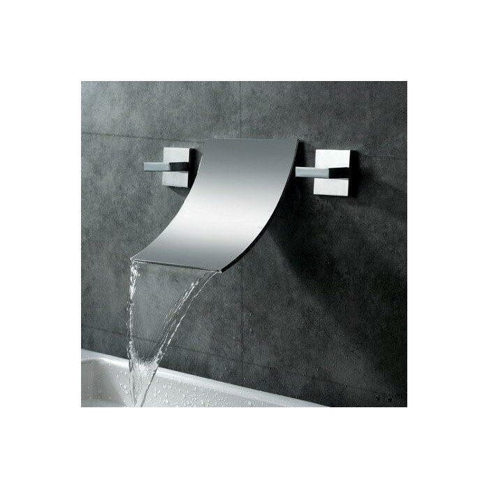 Waterfall Bathroom Sink Faucet Part - 41: Double Handle Wall Mount Waterfall Bathroom Sink Faucet