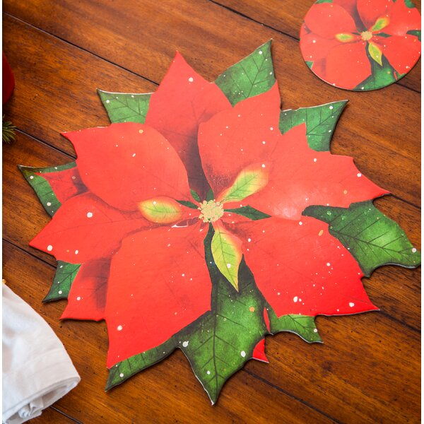 Liana Coated Solid Poinsettia 5 Placemat (Set of 4) by The Holiday Aisle