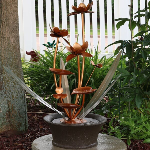 Copper/Fiberglass Flower Blossoms Garden Water Fountain by Wildon Home ®