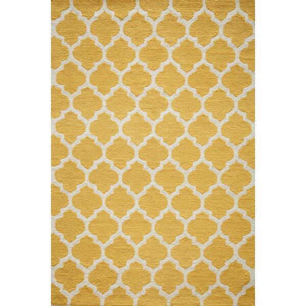 Frank Hand-Hooked Yellow Area Rug by House of Hampton