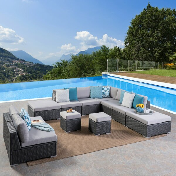 Cabral 11 Piece Sectional Seating Group with Cushions by Sol 72 Outdoor Sol 72 Outdoor