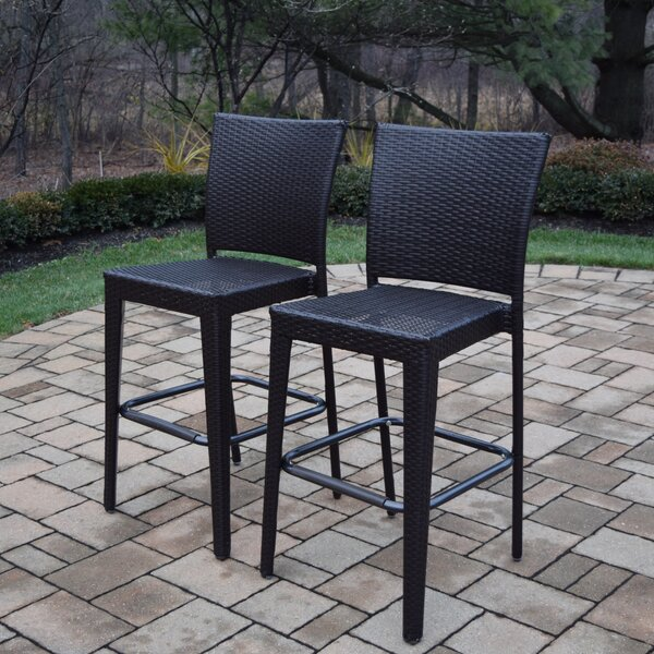 Kingsmill 27.5-inch Patio Bar Stool (Set of 2) by Rosecliff Heights Rosecliff Heights