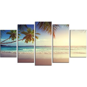 'Typical Sunset on Seychelles Beach' 5 Piece Wall Art on Wrapped Canvas Set by Design Art