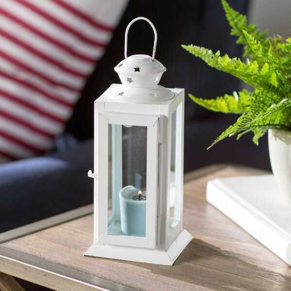 Tall Candle Glass/Metal Lantern by Beachcrest Home