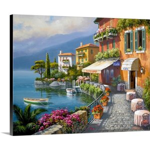 Seaside Bistro Cafe by Sung Kim Painting Print on Wrapped Canvas by Great Big Canvas