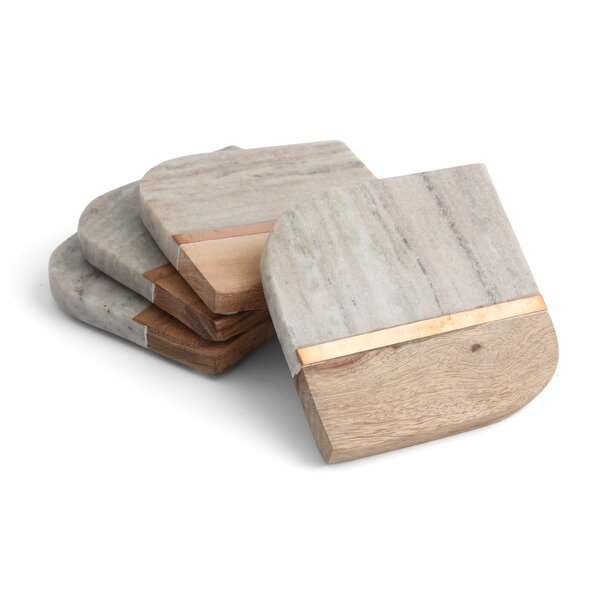 Inlayed Marble & Acacia Wood Coaster (Set of 4) by George Oliver