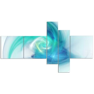 'Light Blue Fractal Abstract Texture' Graphic Art Print Multi-Piece Image on Canvas by East Urban Home