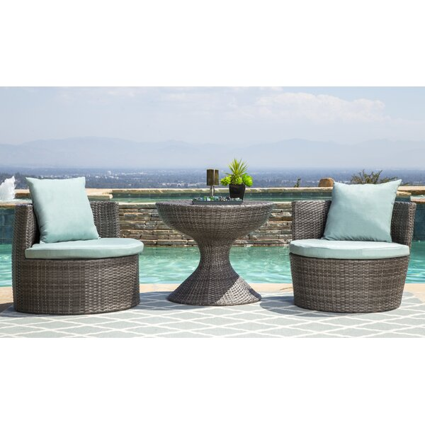 Lisette 3 Piece Conversation Set with Cushions by Wade Logan
