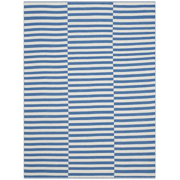 Orwell Hand-Woven Cotton Ivory/Blue Area Rug by Breakwater Bay